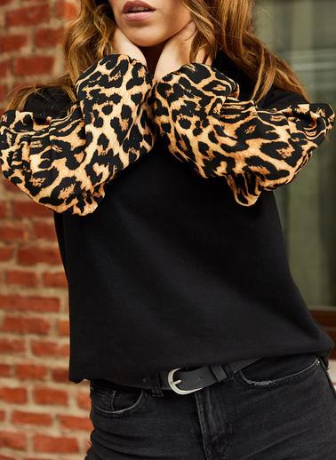 XHAN Kolları Desenli Bluz 9Kxk2-42841-02 Siyah